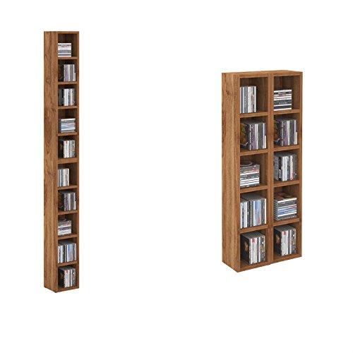 cd dvd regal standregal medienregal chart in nussbaum mit 10 f chern f r bis zu 160 cds 20 186. Black Bedroom Furniture Sets. Home Design Ideas